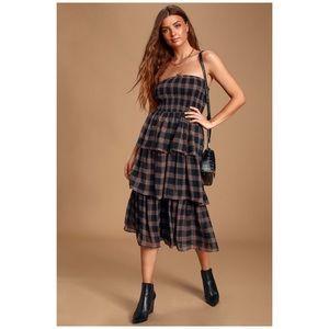 NWT Lulu's Black Plaid Ruffled Midi Dress